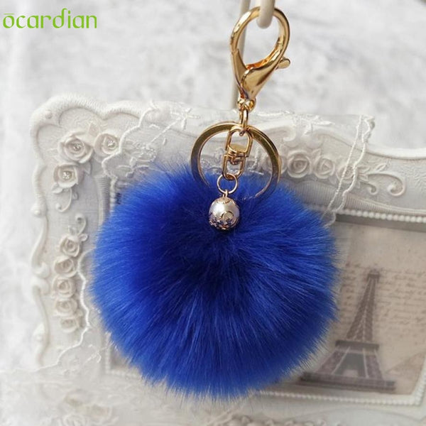 Naivety New 1PC Cute Artificial Rabbit Fur Plush Ball Pendant Accessory For Bag JUN10U drop shipping-Bag Parts & Accessories-Enso Store-Beige-Enso Store