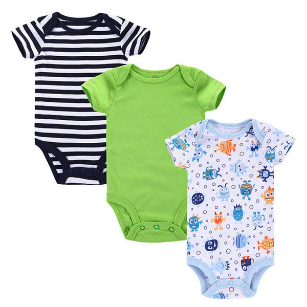 Near Cutest 3pcs/lot 2017 Baby Boys Girls Clothes Infant Clothes Animal 100% Cotton Newborn Baby Rompers Baby Clothing Set-Baby Boys Clothing-Enso Store-Baby Romper-3M-Enso Store