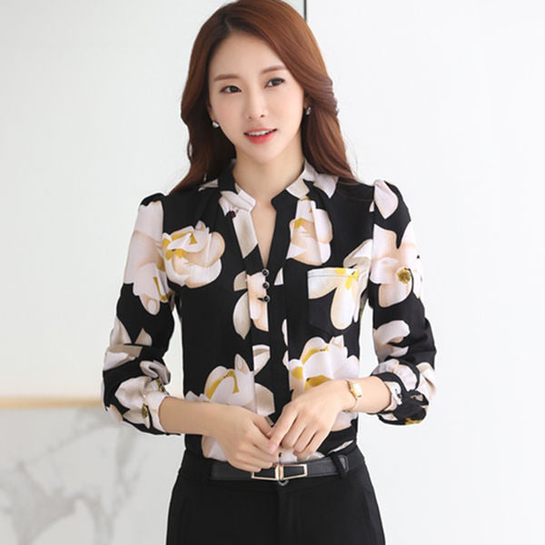 New 2016 Autumn Fashion V-Neck Chiffon Blouses Slim Women Chiffon Blouse Office Work Wear shirts Women Tops Plus Size Blusas-Women's Blouses-Enso Store-Black-S-Enso Store