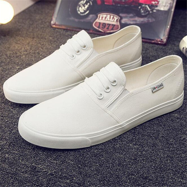 New 2016 Spring Autumn Fashion Men Flats Canvas Shoes Solid Color Soft Round Toe Slip-On Casual Shoes Black White Men's Loafers-Men's Vulcanize Shoes-Enso Store-white-7-Enso Store