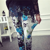 New 2016 Spring Summer Womens Fashion Black Milk Thin Stretch leggings Colored Stars Graffiti Slim Skinny Leggings Pants Female-Women's Bottoms-Enso Store-Blue flower-One Size-Enso Store