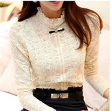 New 2017 Hot women tops Women Clothing fashion Blusas Femininas Blouses & Shirts Fleece Women Crochet Blouse Lace Shirt 999-Women's Blouses-Enso Store-Beige-S-Enso Store
