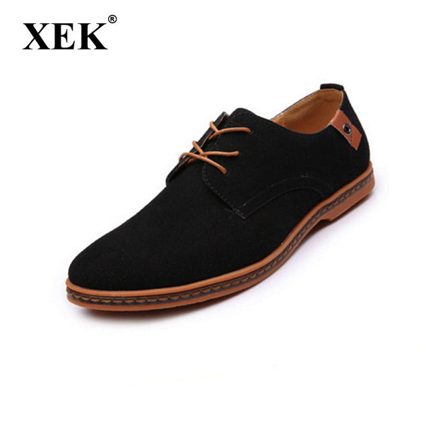 New 2017 men shoes suede leather shoes male fashion Brand casual soft leather shoes for men Plus size 45,46,47,48-Men's Casual Shoes-Enso Store-black-6.5-Enso Store