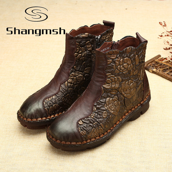 NEW ARRIVAL Folk Style Martin Boots Genuine Leather Ankle Shoes Vintage Mom Women Shoes Retro Handmade Boots For Women-Women's Boots-Enso Store-brown winter-6-Enso Store