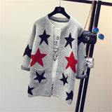 New Arrivals 2017 Fashion Star Pattern Cardigans Female Sweaters Long Sleeve Knitted Slim Women Sweater Cardigan C77-Enso Store-Five pointed star-One Size-Enso Store
