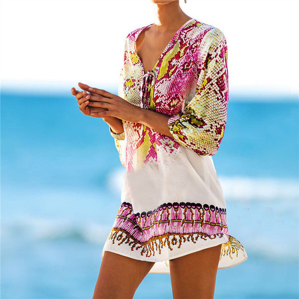 New Arrivals Beach Caftan Swimsuit Cover up Print Chiffon Pareo Women Robe Plage Swimwear Dress Sexy Sarong Beach Tunic #Q152-Women's Swimwear-Enso Store-Enso Store