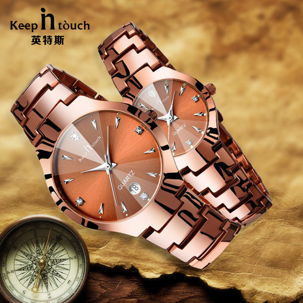 New Arrive Fashion Lover Watch Men Women Coffee Golden Quartz Wristwatch Noctilucent Analog Lovers Watch Pair for Couples Gift-Lover's Watches-Enso Store-Enso Store