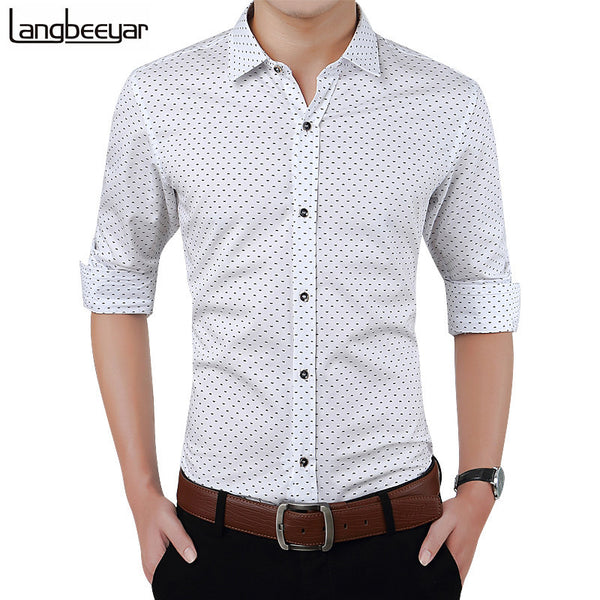 New Autumn Fashion Brand Men Clothes Slim Fit Men Long Sleeve Shirt Men Polka Dot Casual Men Shirt Social Plus Size M-5XL-Men's Shirts-Enso Store-Khaki-Asian size M-Enso Store