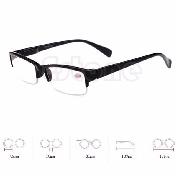 New Black Frames Semi-rimless Eyeglass Myopia Glasses -1 -1.5 -2 -2.5 -3 -3.5 -4-Women's Accessories-Enso Store-100-Enso Store