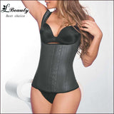 New Black Latex Corset Body Shaper Cotton Steel Boned Corset Latex Waist Cincher Sexy Corpete Corselete Shapewear -B-Enso Store-Beige-XS-Enso Store