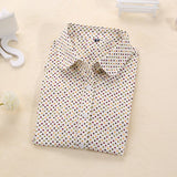 New Brand Polka Dot Shirt Women Long Sleeve Blouse Cotton Plus Size Ladies Tops Turn-Down Collar Women Blouses Femininas Camisa-Women's Blouses-Enso Store-color beige-4XL-Enso Store
