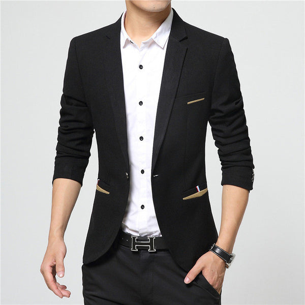 New Brand Spring Masculine Blazer Men Fashion Slim Fit Suit Men Casual Solid Color Suit Blazers Male Clothing-Men's Suits & Blazers-Enso Store-Black-M-Enso Store