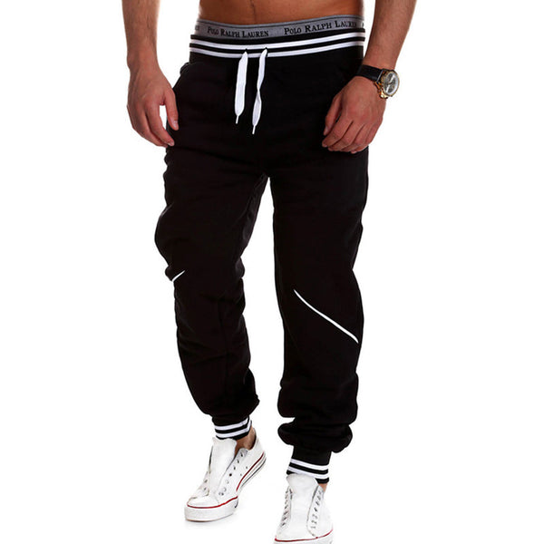 New casual pants men hit Europe and the United States hit color stitching casual pants-Men's Pants-Enso Store-Black-M-Enso Store