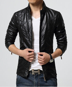 New Fashion PU Leather Jacket Men Black Red Brown Solid Mens Faux Fur Coats Trend Slim Fit Youth Motorcycle Suede Jacket Male-Men's Jackets & Coats-Enso Store-Black-M-Enso Store
