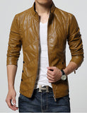 New Fashion PU Leather Jacket Men Black Red Brown Solid Mens Faux Fur Coats Trend Slim Fit Youth Motorcycle Suede Jacket Male-Men's Jackets & Coats-Enso Store-Brown-M-Enso Store
