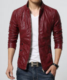New Fashion PU Leather Jacket Men Black Red Brown Solid Mens Faux Fur Coats Trend Slim Fit Youth Motorcycle Suede Jacket Male-Men's Jackets & Coats-Enso Store-Red-M-Enso Store