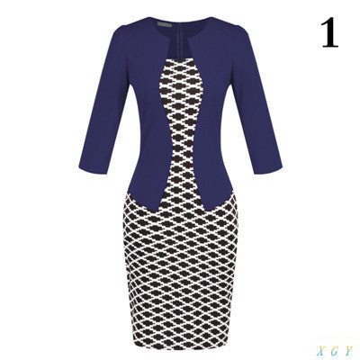 New Fashion Women Dress Sets Formal Pencil Dress Suits Print Flower Plaid Office Wear Work Clothes Attachment Belt CC2848-Enso Store-1-L-Enso Store