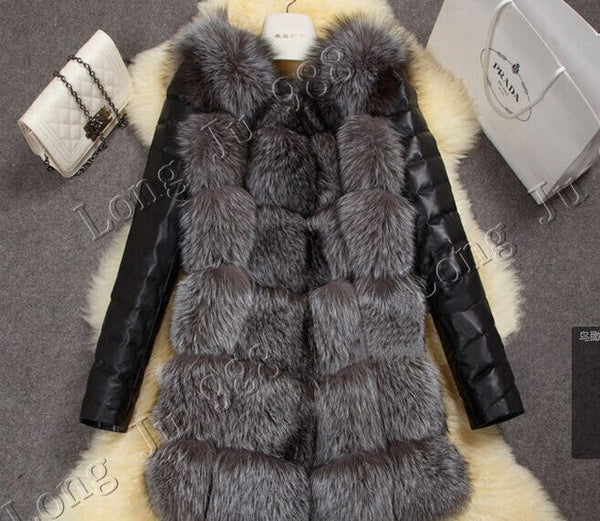 New high imitation silver fox fur coat PU sleeves warm winter coat fox coat big yards overcoat-Enso Store-Silver-S-Enso Store