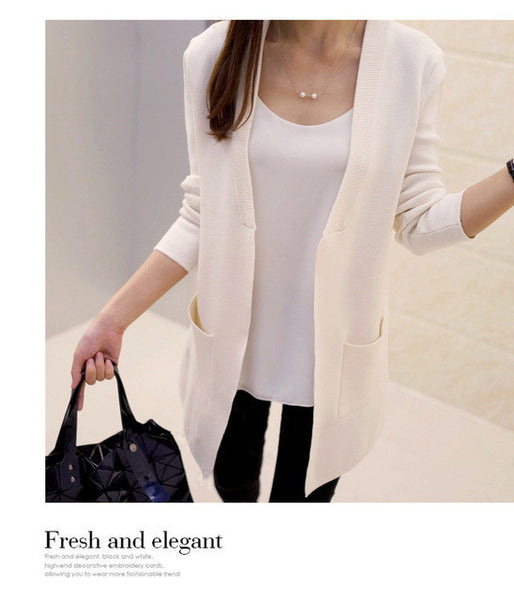New High Quality Women Spring Autumn Medium-long Cardigan 2016 New female elegant pocket Knitted Outerwear Sweater Cape Top-Enso Store-Beige-S-Enso Store