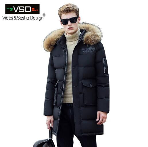 New Long Winter Down Jacket With Fur Hood Men's Clothing Fashion Jackets Thickening Parka Male Big Coat-Down Jackets-Enso Store-Black-M-China-Enso Store