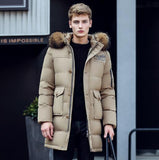 New Long Winter Down Jacket With Fur Hood Men's Clothing Fashion Jackets Thickening Parka Male Big Coat-Down Jackets-Enso Store-Khaki-M-China-Enso Store