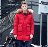 New Long Winter Down Jacket With Fur Hood Men's Clothing Fashion Jackets Thickening Parka Male Big Coat-Down Jackets-Enso Store-Red-M-China-Enso Store