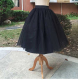 New Puff Women Chiffon Tulle Skirt White faldas High waist Midi Knee Length Chiffon plus size Grunge Jupe Female Tutu Skirts-Women's Bottoms-Enso Store-Black-S-Enso Store