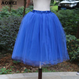 New Puff Women Chiffon Tulle Skirt White faldas High waist Midi Knee Length Chiffon plus size Grunge Jupe Female Tutu Skirts-Women's Bottoms-Enso Store-Blue-S-Enso Store
