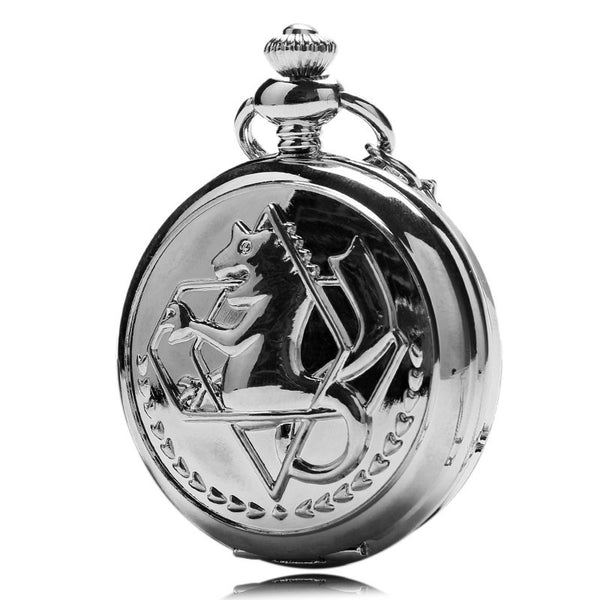 New Silver Tone Fullmetal Alchemist Pocket Watch Cosplay Edward Elric with Chain Anime Boys Gift-Pocket & Fob Watches-Enso Store-Enso Store