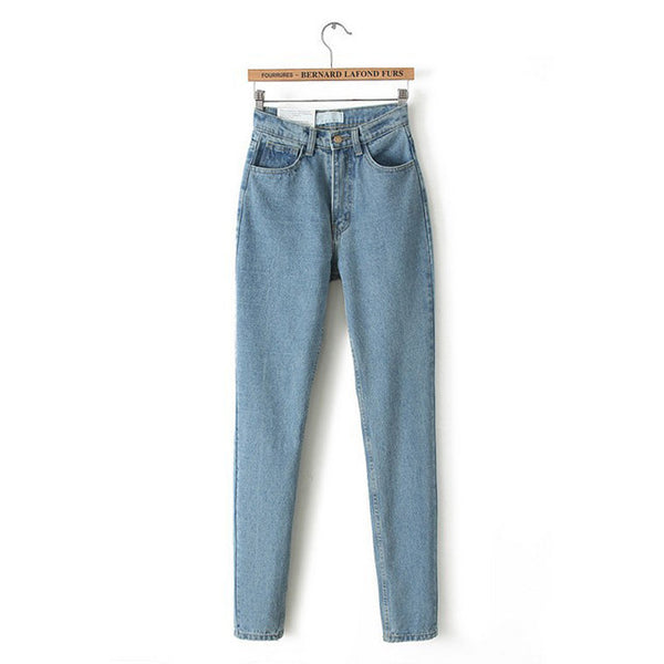 New Slim Pencil Pants Vintage High Waist Jeans new women's pants full length pants loose cowboy pants-Women's Bottoms-Enso Store-blue-25-China-Enso Store