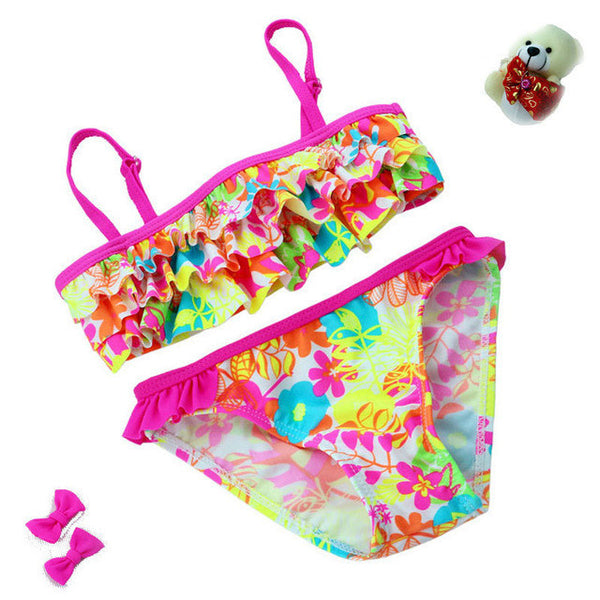 New summer European and American Style Flowers Bikini Children's Swimwear Girls Split Bikini Kids Cake Layer Swimsuit-Women's Swimwear-Enso Store-A-3T-Enso Store