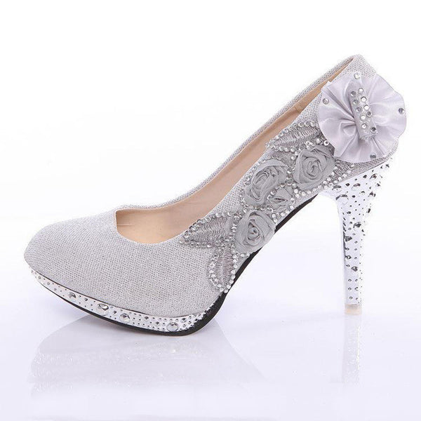 New Women's Rhinestone Flower Shoes-Women's Pumps-Enso Store-Gold-4-Enso Store