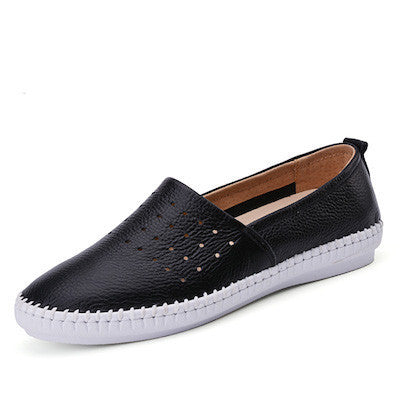 O16U women Espadrilles flats shoes Genuine leather cut out slip on Ladies Ballet Flats loafers Female Moccasins Shoes Ballerina-Women's Flats-Enso Store-No1 black D B17-4.5-Enso Store