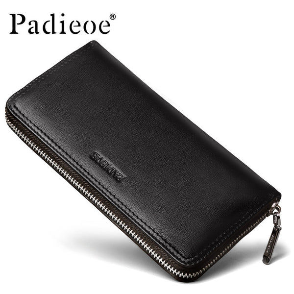 Padieoe New fashion men wallet genuine leather purse and handbags for male luxury brand black zipper men clutches-Men's Wallets-Enso Store-Enso Store