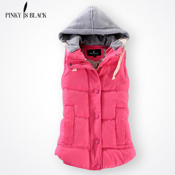Pinky Is Black Autumn Winter Fashion Cotton Vest Women Patchwork Sleeveless Hooded Collar Casual Coat Colete Feminino Waistcoat-Enso Store-wine red-S-Enso Store