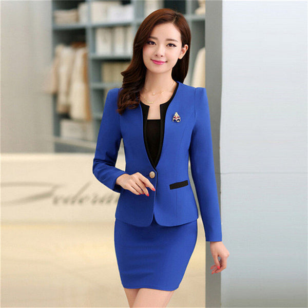c01b0a613818e ... Plus Size Candy Color Skirt Suits Summer Style 2016 Women Business  Suits Formal Office Suits Work ...