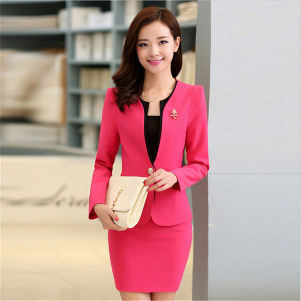 Plus Size Candy Color Skirt Suits Summer Style 2016 Women Business Suits Formal Office Suits Work Elegant Blazer Feminino 3XL-Enso Store-red-S-Enso Store