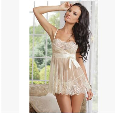 Plus size New Popular Women Bedroom Intimates Sexy Slips Dress lace Sleepwear with Bow Up Exotic Nightgowns-Enso Store-white-M-Enso Store