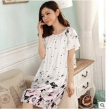 Plus Size Nightgowns For Women Long Cartoon Girls Nightshirts Nightdress Cotton And Silk Sleepshirt Summer Dressing Gowns E0021-Enso Store-Black Ink-L-Enso Store