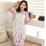 Plus Size Nightgowns For Women Long Cartoon Girls Nightshirts Nightdress Cotton And Silk Sleepshirt Summer Dressing Gowns E0021-Enso Store-Butterfly flower-L-Enso Store