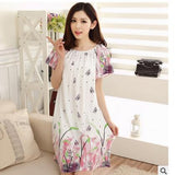 Plus Size Nightgowns For Women Long Cartoon Girls Nightshirts Nightdress Cotton And Silk Sleepshirt Summer Dressing Gowns E0021-Enso Store-Green flower-L-Enso Store