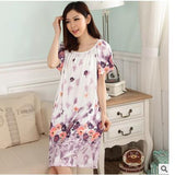 Plus Size Nightgowns For Women Long Cartoon Girls Nightshirts Nightdress Cotton And Silk Sleepshirt Summer Dressing Gowns E0021-Enso Store-Purple Ink-L-Enso Store