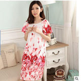 Plus Size Nightgowns For Women Long Cartoon Girls Nightshirts Nightdress Cotton And Silk Sleepshirt Summer Dressing Gowns E0021-Enso Store-Red Ink-L-Enso Store