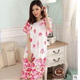Plus Size Nightgowns For Women Long Cartoon Girls Nightshirts Nightdress Cotton And Silk Sleepshirt Summer Dressing Gowns E0021-Enso Store-Red Rose-L-Enso Store