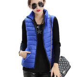 Plus Size Women Sleeveless Jacket Winter Korean Cotton Regular Paragraph Slim Coat-Enso Store-Blue-L-Enso Store