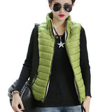 Plus Size Women Sleeveless Jacket Winter Korean Cotton Regular Paragraph Slim Coat-Enso Store-Green-L-Enso Store