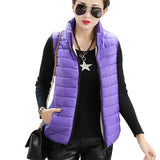 Plus Size Women Sleeveless Jacket Winter Korean Cotton Regular Paragraph Slim Coat-Enso Store-Purple-L-Enso Store