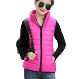 Plus Size Women Sleeveless Jacket Winter Korean Cotton Regular Paragraph Slim Coat-Enso Store-Rhodo-L-Enso Store