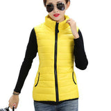 Plus Size Women Sleeveless Jacket Winter Korean Cotton Regular Paragraph Slim Coat-Enso Store-Yellow-L-Enso Store