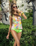 PREETEE 2017 Floral Print Women Swimsuits Sexy Beachwear Two Pieces Tankini Swimwear Female Large Cup Skirt Bikini Bathing Suits-Women's Swimwear-Enso Store-2-S-Enso Store